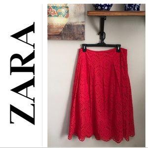 Zara Eyelet Embroidery Red Skirt
